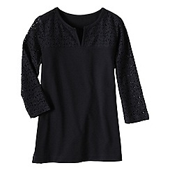 Lands' End - Black 3-quarter sleeve ponte lace yoke tunic
