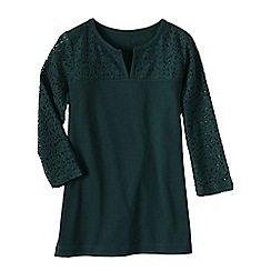 Lands' End - Green 3-quarter sleeve ponte lace yoke tunic