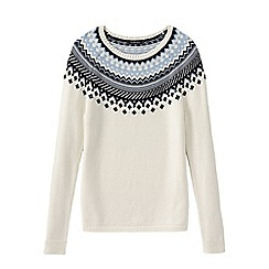 Lands' End - White petite lofty open crew neck