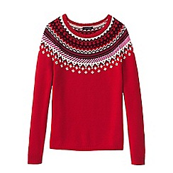 Lands' End - Red petite lofty open crew neck