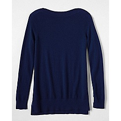 Lands' End - Blue petite boatneck cashmere tunic