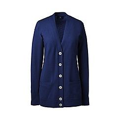 Lands' End - Blue regular classic cashmere v-neck cardigan