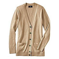 Lands' End - Beige women's classic cashmere v-neck cardigan
