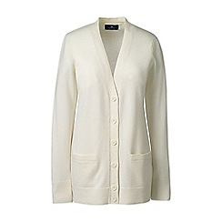 Lands' End - Cream regular classic cashmere v-neck cardigan