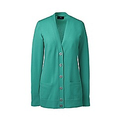 Lands' End - Green regular classic cashmere v-neck cardigan
