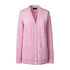 Lands' End - Pink regular classic cashmere v-neck cardigan