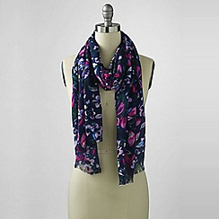 Lands' End - Blue winter floral scarf