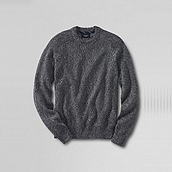 Lands' End - Black men's marled drifter cotton sweater