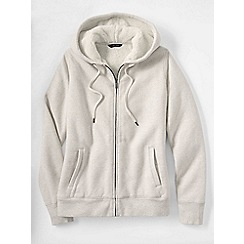 Lands' End - Cream women's fleece zip hoodie
