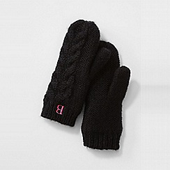 Lands' End - Black women's chunky cable mittens