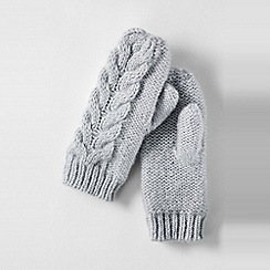 Lands' End - Grey women's chunky cable mittens