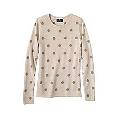 Lands' End - Cream women's classic cashmere long sleeve dots pattern jumper