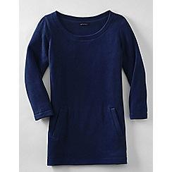 Lands' End - Blue fleece 3-quarter sleeve tunic