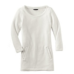Lands' End - Cream women's fleece 3-quarter sleeve tunic
