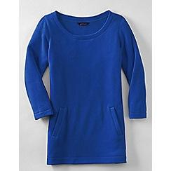 Lands' End - Blue women's fleece 3-quarter sleeve tunic