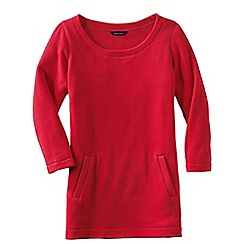 Lands' End - Pink women's fleece 3-quarter sleeve tunic