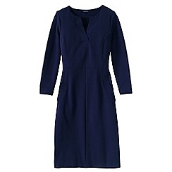 Lands' End - Blue women's regular notched neck ponte shift dress