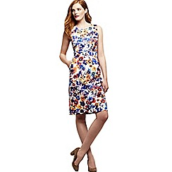 Lands' End - Blue women's digital print welt pocket shift dress