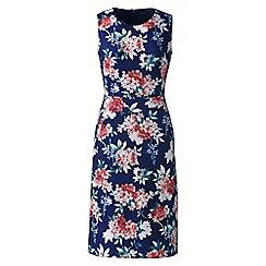 Lands' End - Blue digital print petite welt pocket shift dress