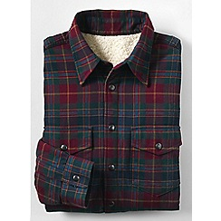 Lands' End - Red men's sherpa-lined flannel shirt jacket