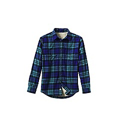 Lands' End - Blue men's sherpa-lined flannel shirt jacket