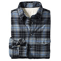 Lands' End - Grey men's sherpa-lined flannel shirt jacket