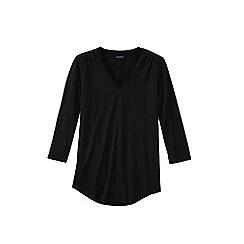Lands' End - Black 3-quarter sleeve v-neck trim tunic