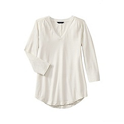 Lands' End - Cream petite 3-quarter sleeve v-neck trim tunic