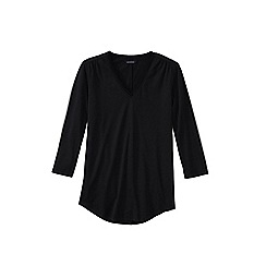 Lands' End - Black petite 3-quarter sleeve v-neck trim tunic