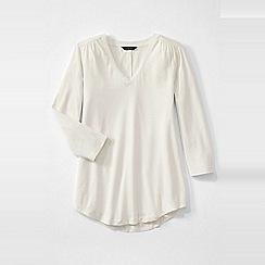 Lands' End - Cream women's 3-quarter sleeve v-neck trim tunic