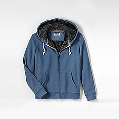 Lands' End - Blue men's serious sweats sherpa-lined hoodie