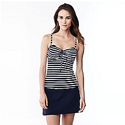 Lands' End - Blue striped dd-cup beach living tankini top