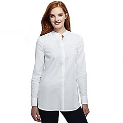 Lands' End - White women's collarless embroidered tunic