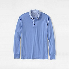 Lands' End - Blue men's woven collar supima polo