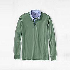 Lands' End - Green men's woven collar supima polo