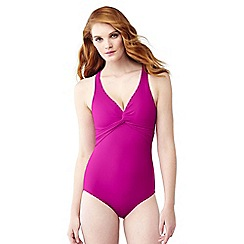 Lands' End - Purple shape and enhance v-neck twist swimsuit