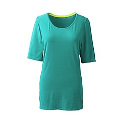 Lands' End - Blue elbow-sleeve workout tee