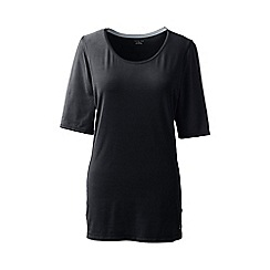 Lands' End - Black tall elbow-sleeve workout tee