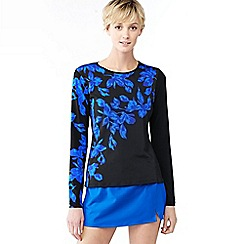 Lands' End - Blue blossom print rash guard swim tee