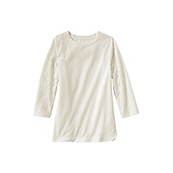 Lands' End - Cream women's three quarter sleeve lace top