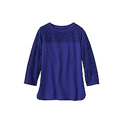 Lands' End - Blue women's three quarter sleeve lace top
