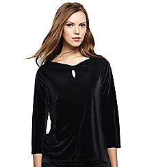 Lands' End - Black women's velvet keyhole top