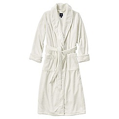 Lands' End - Cream women's plush fleece dressing gown