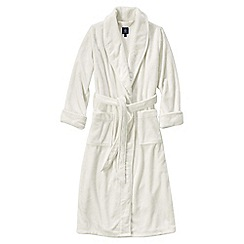Lands' End - Cream petite plush fleece dressing gown
