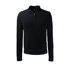 Lands' End - Black fine gauge cashmere quarter zip
