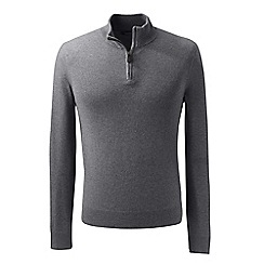 Lands' End - Grey fine gauge cashmere quarter zip
