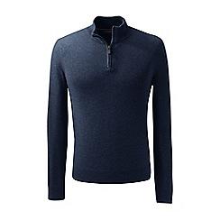 Lands' End - Blue fine gauge cashmere quarter zip
