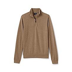 Lands' End - Beige fine gauge cashmere quarter zip jumper