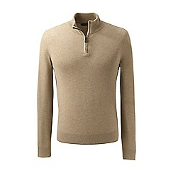 Lands' End - Brown fine gauge cashmere quarter zip