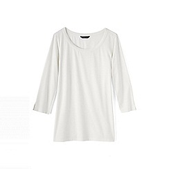 Lands' End - Cream trimmed scoop neck tunic